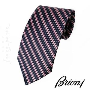 Brioni Men's Neck Tie Silk Pink Blue Stripe
